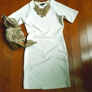 Iris Textured Cream Fitted Dress